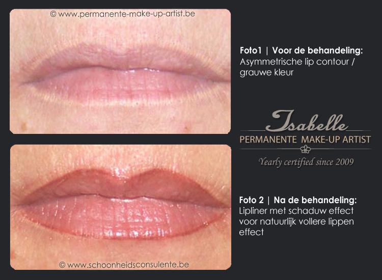 Voor/na permanente make-up lippen